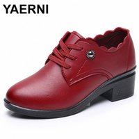 Yaniwomens Pumps Autunno New Fashion Slip On Donne Tacchi alti Scarpe MotherLeather Lace Up ConforteaDedding Causal ShoeDe1035 V7FS #