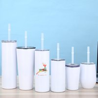 Straight Blank Sublimation Tumbler Stainless Steel Insulated Milk Cup Double Wall Vacuum Travel Mug Custom Water Cup With Sealed Lid