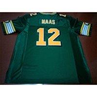 001 Edmonton Eskimos # 12 Jason Maas White Green Real Full Stickerei College Jersey Größe S-4XL oder Benutzerdefinierte Name oder Nummer Jersey