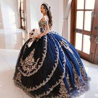 Princesse Navy Blue Vestidos de 15 Años Quinceanera Robes 2021 Sweet 16 Robe Coléccion Charro Ball robe de bal de bal Charro