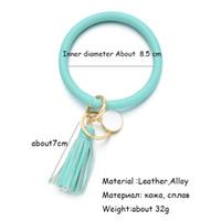 PU-Leder Quasten Armband Keychain PU-Handtaste Key Ring Sonnenblume Leopardenmuster Armreif Schlüsselhalter Dia 8.5cm