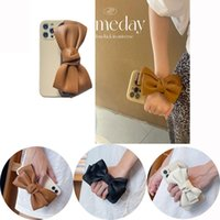 Luxury PU Leather Bowknot phone Cases Hand Grip Strap Wrist Chain For iPhone 13 12 11 Pro MAX 8 7 Plus SE2 Woman Girls Soft TPU Slim Protective Cover