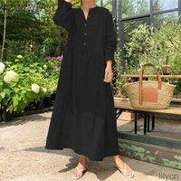 Zanzea sólido camisa larga vestido de mujer casual largo maxi vestidos 2020 bolsillos vintage vestidos de algodón túnica bohemia femme plus size1