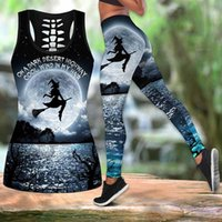 Women's Two Piece Pants Women Halloween Witch Yog-a Set 3d Printed Hollow Out Tank Top High Waist Legging Elastic Casual Slim Sports