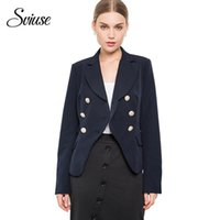 Women's Suits & Blazers Autumn Navy Office Blazer Double Breasted Long-Sleeve Pockets Fashion Jacket Casual Vintage Female Suit Outerwear