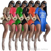 Women Summer Clothing Casual Tracksuits Long T Shirts Biker Shorts Pullover Sweatsuits Letters Printed Sportswear 2 Pieces Set Fashion Outfits