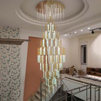 Chandeliers Modern Ceiling Led Chandelier Loft Staircase For Living Room Crystal Hanging Lamp Nordic Art Deco Gold Long Kitchen