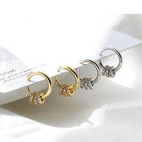 Hoop & Huggie 925 Sterling Silver Crystal Round Bead Piercing Earring For Women Girls Party Wedding Jewelry Pendientes Eh777