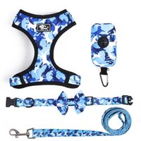 Dog Collars & Leashes Harness Collar With Walking Leash Poop Bag 4-Pieces Set Pet Accessories Adjustable Reflective Harnesses