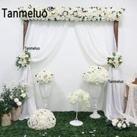 Party Decoration 2PCS W1.5xH2.8M Whtie Chiffon Polyester Backdrop Curtain Wedding Arch Draping Arbor Drapes Outdoor Banquet Panel Farbic
