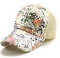 Женщины блестки бейсбол крышка блеск блестка сетка чистая шляпа, защелкивающиеся задние крышкой BaseballoxIns Snap Backly Blitter Bling Party Hat Ljjk2520