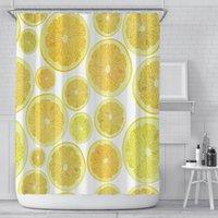 Lemon impresso cortina de chuveiro verão kiwi melancia digital impresso cortinas com anel poliéster banheiro suprimentos gwe4831
