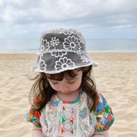 Caps & Hats Kids Bucket Summer Baby Fisherman's Hat Sping Bud Silk Gauze Dome Cap Children Embroidered Perspective Fashion Bonnet