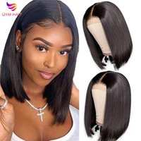 Lace Wigs Blunt Cut Bob Wig Brazilian Front Human Hair Straight For Women Remy 4X4 Closure With Baby
