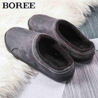 Boree Classic Home Pantofole per uomo Inverno scamosciato in pelle scamosciata pantofole antiscivolo antiscivolo camera da letto pantofola coppia morbida scarpe da interno maschio 210325