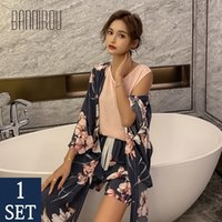 Bannirou pijama kadınlar için setleri kadınlar pijama viskon pijama 4 parça pijama set çiçek pijama kadın gece takım elbise pijama setleri 210315