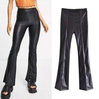 Women's Pants & Capris Za Women 2021 Chic Fashion PU Faux Leather Skinny Vintage High Waist Side Zipper Slim Casual Female Flared Trousers