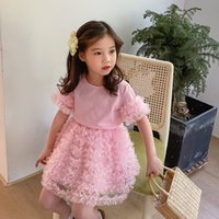 Girls Clothing Sets Summer Lace Sequined T-shirt+Skirt 2Pcs Set for Kid Clothing Sets Baby Clothes Children Outfits 2 Color 2-6Y Q0716