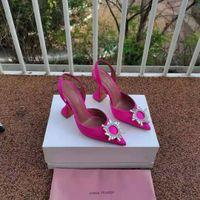 Fashion Season Amina Muaddi Shoes Pink Begum 95 Satin Slingback Pumps Crystal Sunflower High Heels Real Photos
