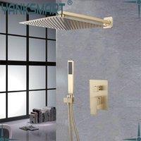 Набор душевой душ 12-дюймовый душ насадка для душа ванная комната для ванной комнаты набор для краевых изделий Матовый золотой настенные настенные монтируемые смесители осадков