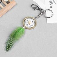 Keychains Green Dream Catcher Keychain Handmade Handcraft Feather Keyring DROP Wholesale MAY2