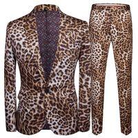 Новый напечатанный леопардовый принт Корейская версия Slim Slim Western Consure Consure Close Cooth Nightclub MC мужская одежда