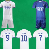 21 22 Real Madrid Soccer Jerseys Kurzes Zuhause Dritter Kits 2021 2022 Alaba Hazard Zidane Benzem Football Hemd Hosen Camiseta de Futbol Männer Kinder Sets