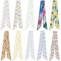 Tücher Frauen Elegant Kleiner Blumendruck Sorte Tasche Griff gebunden Schal 95cm * 5 cm