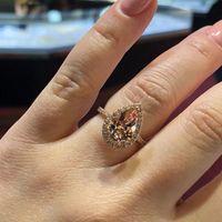 패션 우아한 큐빅 지르콘 손가락 반지 로즈 골드 컬러 CZ 다이아몬드 약혼 반지 샴페인 크리스탈 웨딩 밴드 반지 여성용 보석