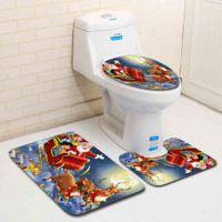 Christmas Toilet seat Cover 3Pcs Set Bath Mat Non-Slip Bathroom Rugs Water Absorption Doormats Home Decoration Carpet