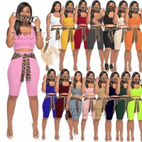 Women 3 piece tracksuits set with face mask knitted pit strip leopard print lace-up shorts solid color vest casual suit Summer Fashion clothes jogging sportswear