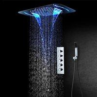 Luxo LED Sistema de Chuveiro 4 Funções Teto 580 * 380mm Chuveiro Chuveiro Painel de Chuveiro Banheiro Torneira Montada Monteiro Escondido