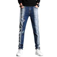 2021 봄 새로운 남성용 파란색과 흰색 씻어 찢어진 청바지 패션 레트로 바지 정규 맞는 스트레치 데님 바지 남성 브랜드, 723