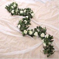 Decorative Flowers & Wreaths 9 Heads 11 Heads Artificial Rose Flower Fake Hanging Vine Plants Leaves Artificials Garland Wedding Decoration
