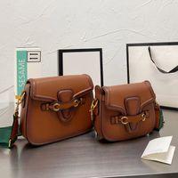 Satteltaschen Frauen Geldbörse Handtasche Crossbody Bag Mode Rindsleder Echtes Leder Hase Farbband Retro abnehmbarer breiter Schultergurt