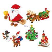 Mini Bloki Santa Claus Model Drzewo Plastikowe Cegła Zabawa Elk Brinquedos Dla Dzieci Boże Narodzenie Prezent Nowy Rok Obecny Q0723