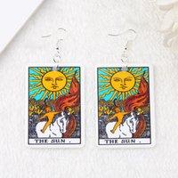 Dangle Chandelier 1Pair Gota Brinco Grande Tamanho Tarot Deck Cartão Sun Moon Estrela e os Amantes Divinate Moda Jóias Presente