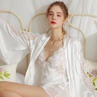 Women's Sleepwear Silk White Fairy Dress Peignoirs For Women Robe Sets Satin Lace Embroidery Bathrobe Summer Kimono Albornoces
