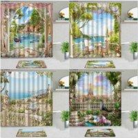 Shower Curtains 2pcs Natural Scenery Mediterranean Architecture Landscape Flower Plant Bathroom Decor Set With Non-slip Carpet