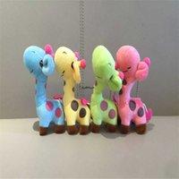 Little 9-12cm girafa pelúcia brinquedo de pelúcia; Girafa Keychain Pingente Presente 210724