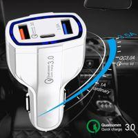 3 في 1 USB شاحن سيارة شحن سريع نوع C QC 3.0 Fast PD USBC شاحن لسيارات شحن سيارة شحن محول لفون سامسونج MQ50