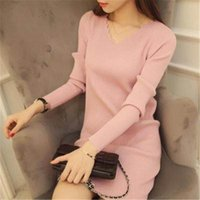 Casual Dresses Vestido suéter feminino com decote v, vestido básico tricô liso zy2781 AVEO
