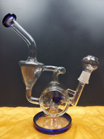 Heady Glass Bong Recycler Bong Unique Blue Sidecar Hookahs Water Pipes Showerhead Perc Percolator Oil Dab Rigs 14.4mm Joint