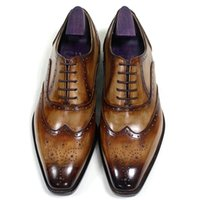 shoes Men Dress shoes Oxfords Custom Handmade shoes Square toe Genuine calf leather Color patina brown HD-N195