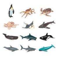 12pcs Simulação Mini Vida Sea Shark Baleia Pinguim Cravo Crab Figuras Lifelike Educação Crianças Crianças Modelo Animal Brinquedo Presente Dos Desenhos Animados Brinquedos