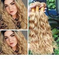 Luminoso Blonde Bionda Bagnata e Wavy Human Human Hair Capelli di capelli 3 PZ LOT # 27 Miele Bionda Bionda Wave Wave Virgin Indian Hair Wefts Bundles Extensions 300G