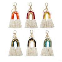 Keychains BOHO Cotton Fringe Fan Tassel Dangle Drops Earrings Rainbow Handmade