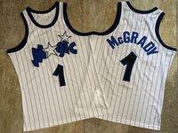 2021 Düşük fiyatlı Erkekler Retro Klasik Basketbol Forması Tracy 1 McGrady Beyaz Giysiler Siyah Çizgili Yoğun Işlemeli Formalar Vintage Nefes Kısa Boyutu S-2XL
