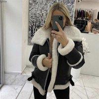 Cappotti di pelle di PU del colletto di pelliccia di agnello delle donne dei cappotti delle donne più velluto caldo inverno tuta sportiva giacca da sposa festa