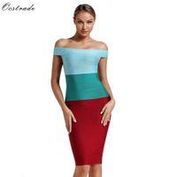 Ocstrade Fashion Designers Runway Women Ombre HL Bandage Dress Off Shoulder Herve Bodycon Club Party 210527